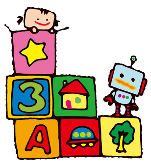Girls and robots playing with blocks