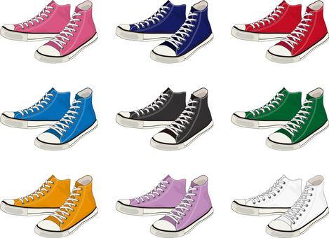 High cut sneakers color set