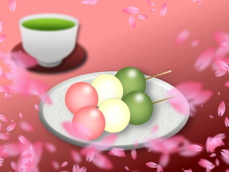 Three color dumplings and cherry blossoms