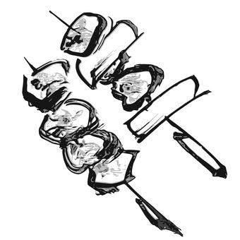 Yakitori hand-painted ink painting