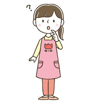 Annoyed cute female nursery teacher / thinking / hand drawn
