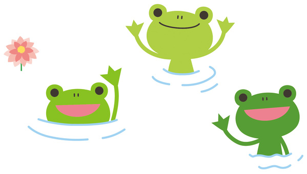 Frogs with their faces out of the water
