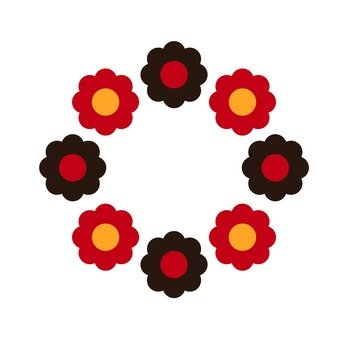 Ring of red and black flowers