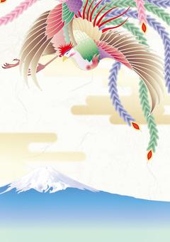 凤凰_日本纸的背景_富士山