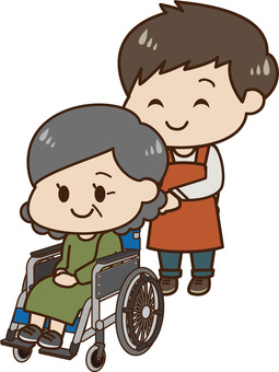 Women with wheelchair and caregiver (male)