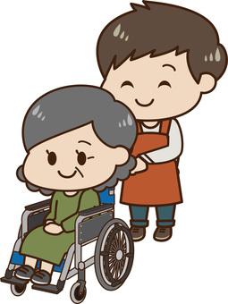 輪椅和看護人的女性(男性)