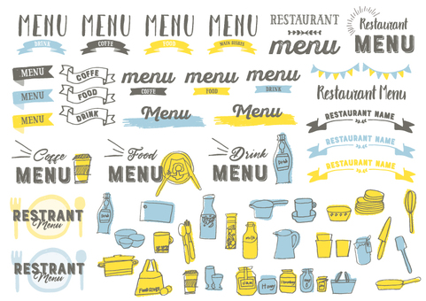 Handwritten restaurant cafe style logo material