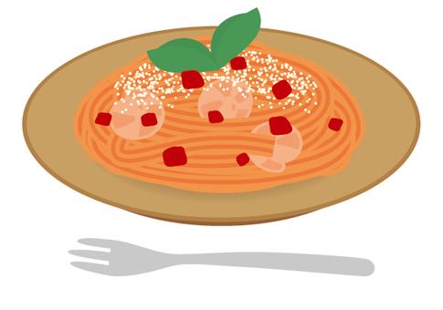 Pasta tomato cream shrimp