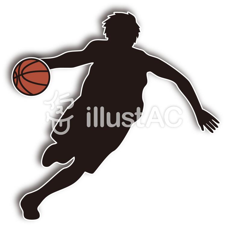 バスケットボール選手シルエット風イラスト No 無料イラストなら イラストac