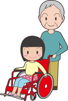 A girl on a wheelchair and an accompanying old gentleman