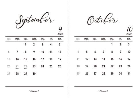 2020 Calendar September-October A5