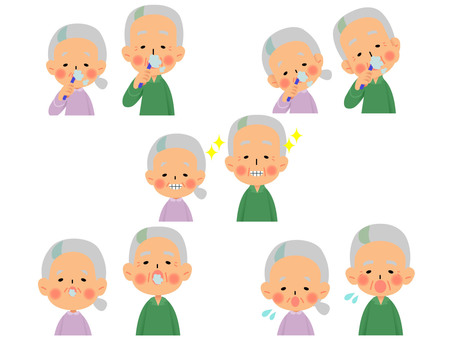 Elderly people look and smile expression set