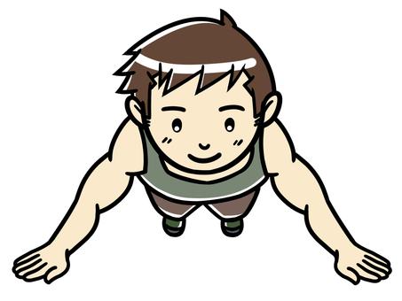 肌肉訓練男子做俯臥撑