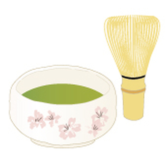 Cha and Matcha bowl _ Mino Cherry Blossoms