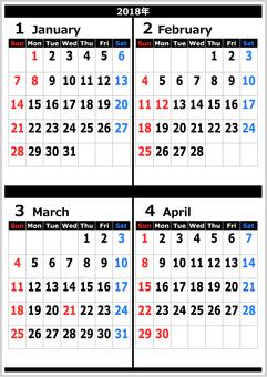 2018 calendar January to April