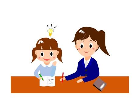 和導師老師一起學習的女孩