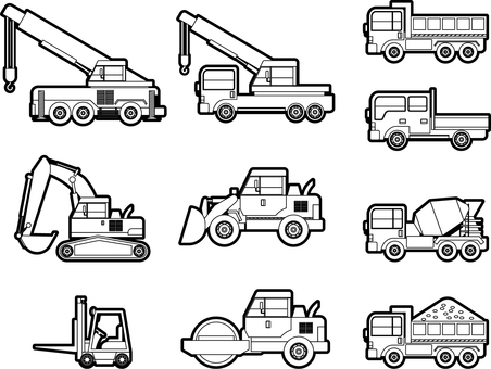 Construction machinery / black and white