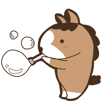 Horses playing with soap bubbles