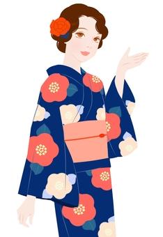 大正ロマン風浴衣姿紺色(案内)