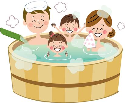 Hinoki Bath Family Bath Natural Hot Spring Bath Smile