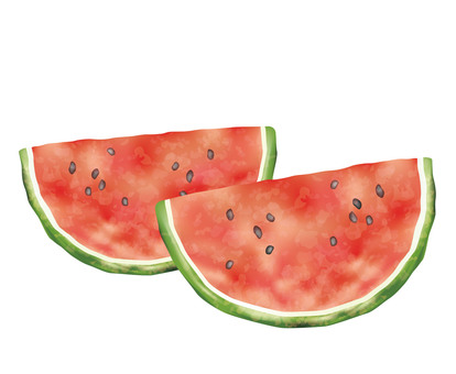 Watercolor style illustration of watermelon