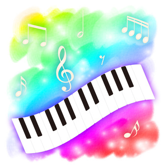 Musical note and instrument keyboard