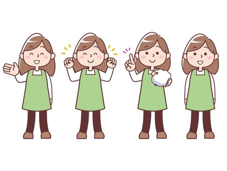 앞치마 차림으로 미소 여성 (전신)
