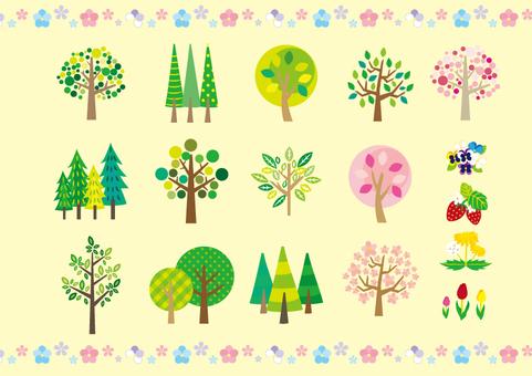 Cute spring trees · Flowers