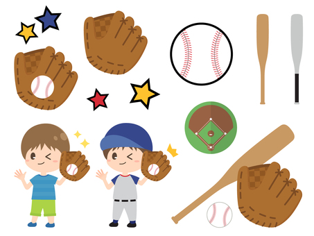 キャッチする野球少年と道具のセット
