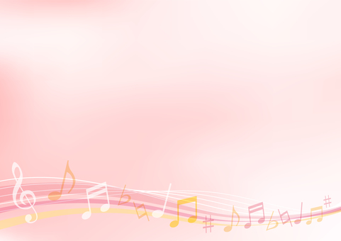 Background material frame frame of pink musical notes