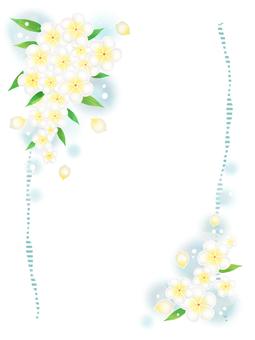 プルメリアの花フレーム(縦)