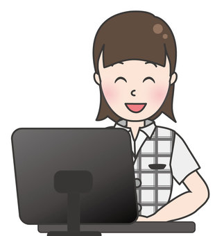 Office worker woman in summer clothes-PC input 1