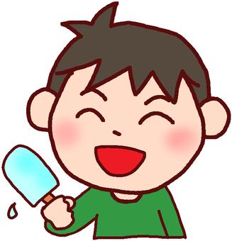 Illustration of a boy who eats ice