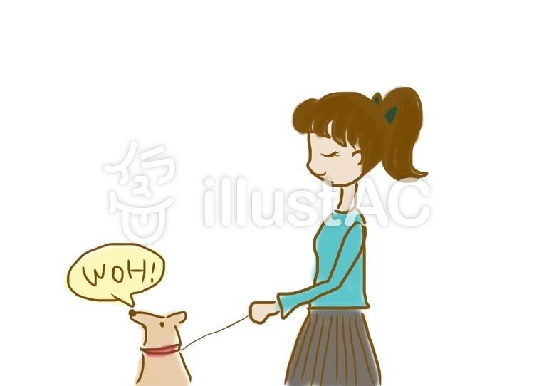 犬の散歩のイラスト