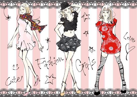 Illustrations of women who enjoy fashion 2
