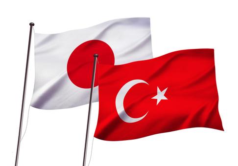 日本とトルコの国旗イメージ