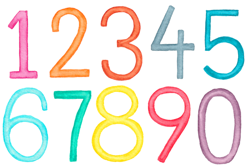 Numbers set (watercolor illustration)