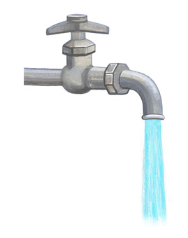 Water tap with water flowing right