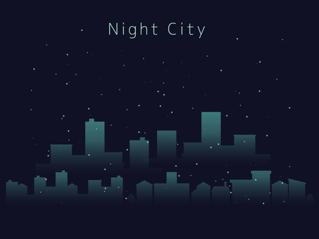 Illustration of night view [cityscape / office area]