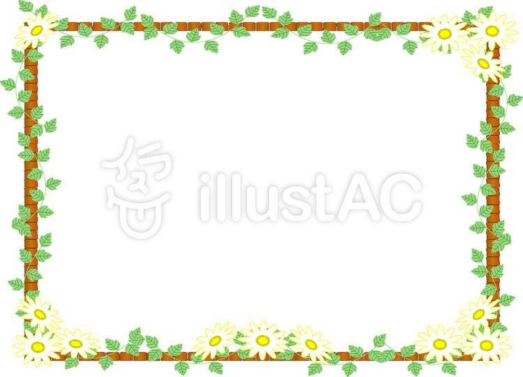 木枠と葉っぱのフレームイラスト No 126993無料イラストなら