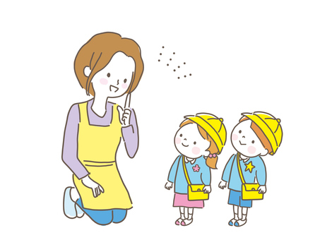 Kindergarten child and mother smile