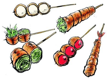 Meat roll vegetables and other skewers set