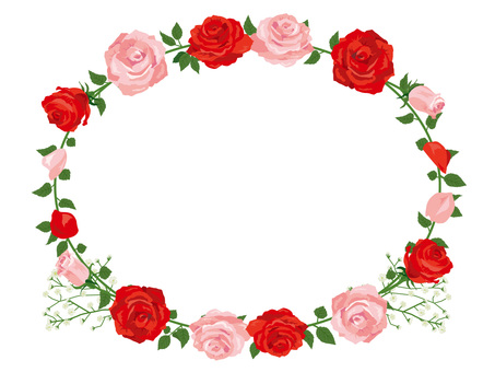 Red and pink rose garland decoration card 01
