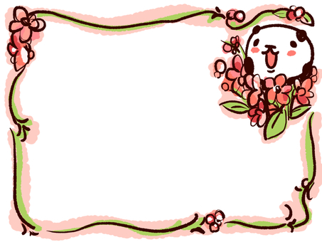 Panda and floral frame