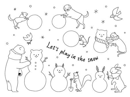 Animals playing snow