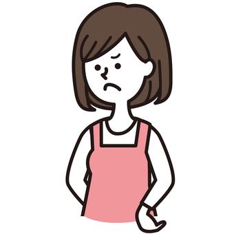 An angry apron woman