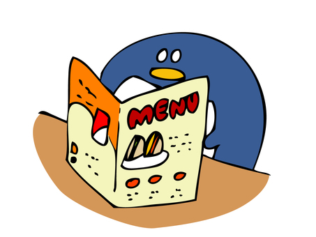 Penguin looking at menu