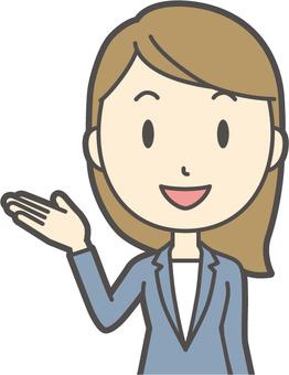 青スーツ女性-148-バスト