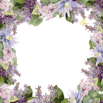 Lilac flower frame, with butterfly