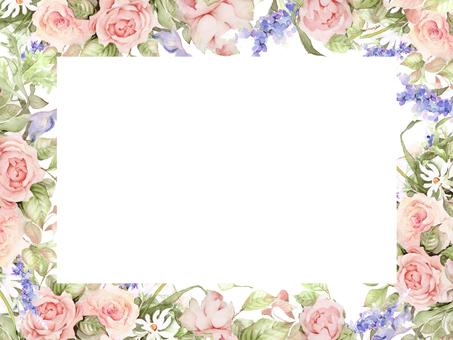 Pink rose and Yaburan flower frame